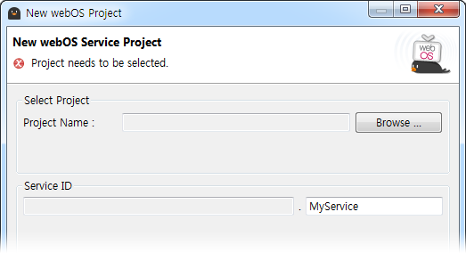Clicking the Browse button on the New webOS Project window