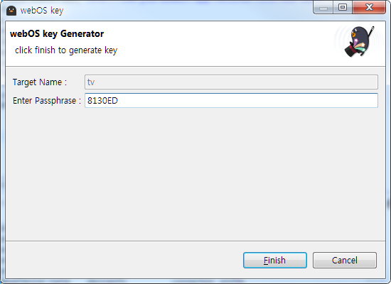 The Passphrase on the webOS key generator