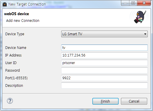 The New Target Connection window of webOS TV IDE