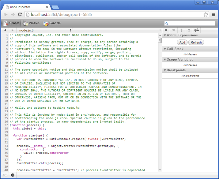 Screenshot of Node Inspector