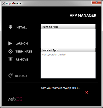 Screenshot of installing an app on the App Manager