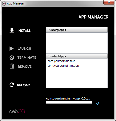 Screenshot of the installed app list on the App Manager
