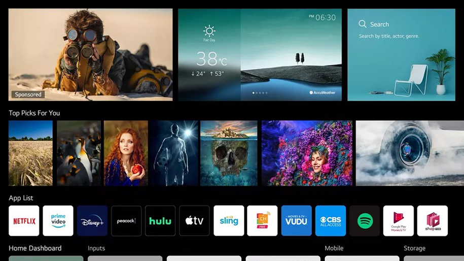 Screenshot of webOS TV 4.0 Home